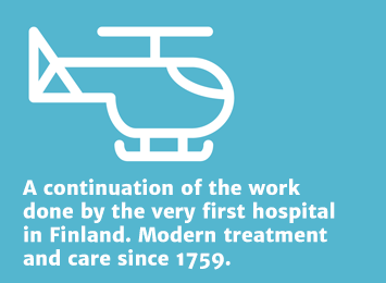 Info 2: A continuation of the work done by the very first hospital in Finland. Modern treatment and care since 1759.