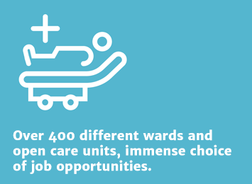Info 4: Over 400 different wards and open care units, immense choice of job opportunities.
